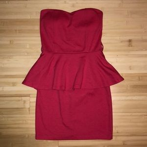 Pink/red strapless ruffled bodycon dress